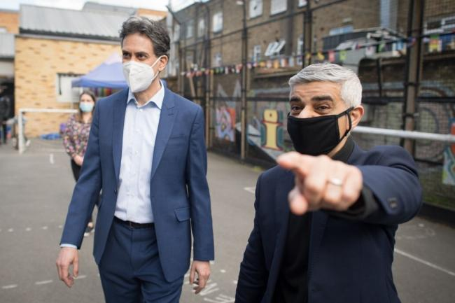 Sadiq Khan was joined by shadow business secretary Ed Miliband as he launched his manifesto today. Credit: PA