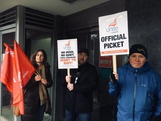 Staff at Bromley libraries have held multiple strikes in recent years - this picket line pictured in 2018