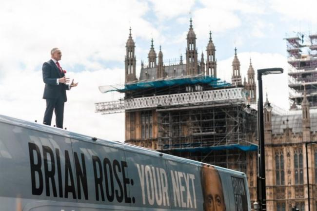 Mayoral candidate Brian Rose gave a speech from the roof of his bus near Westminster on May 4. Credit: London Real