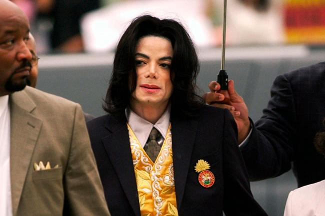 Michael Jackson arrives at the Santa Barbara County Courthouse for his trial in Santa Maria, California