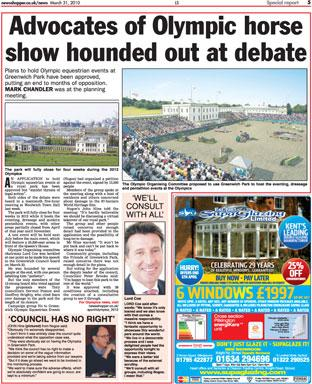 News Shopper's report on the Greenwich Council meeting about Olympic equestrian events
