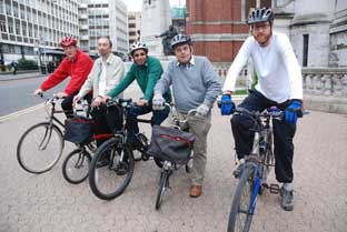 Croydon Cyclists David Wickens,Mike Armstrong, S. Khan, Councillor Dudley Mead and Dave Pettener