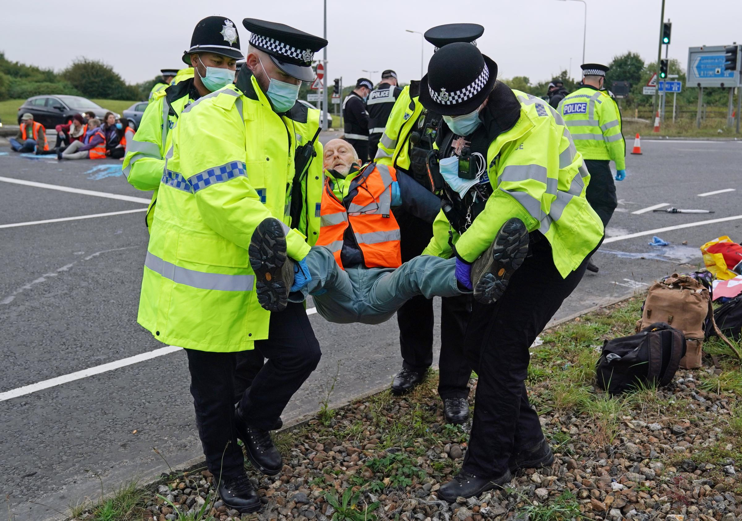 Environmental protesters block traffic on M25 again