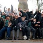 Winning park: Youngsters celebrate Crane Park being awarded £400,000 as part of London Mayor Boris Johnson's Help a London Park competition