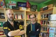 Staff member Mark Collins and Big Green Bookshop co-owner Tim West