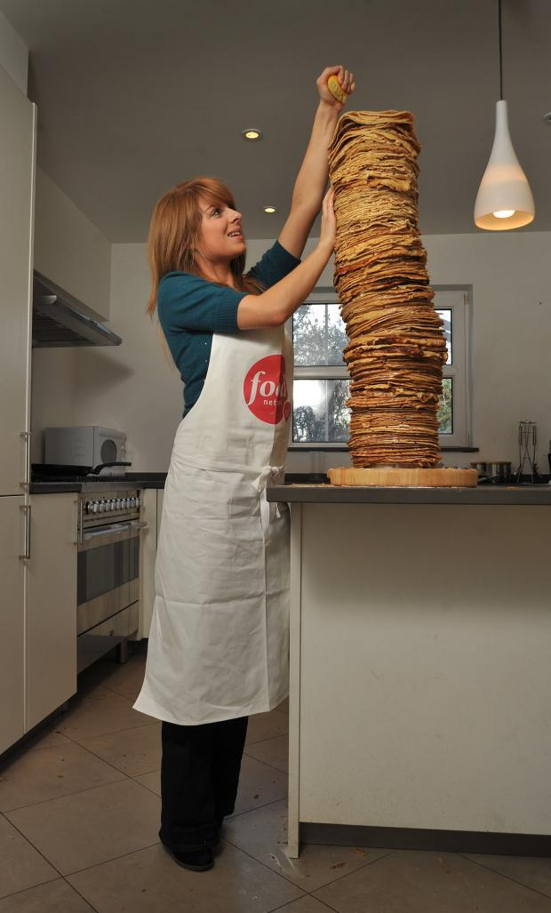 Flipping great: world's highest pancake stack