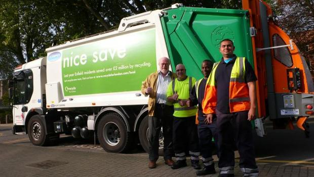 Councillor Chris Bond with Enfield bin collection workers