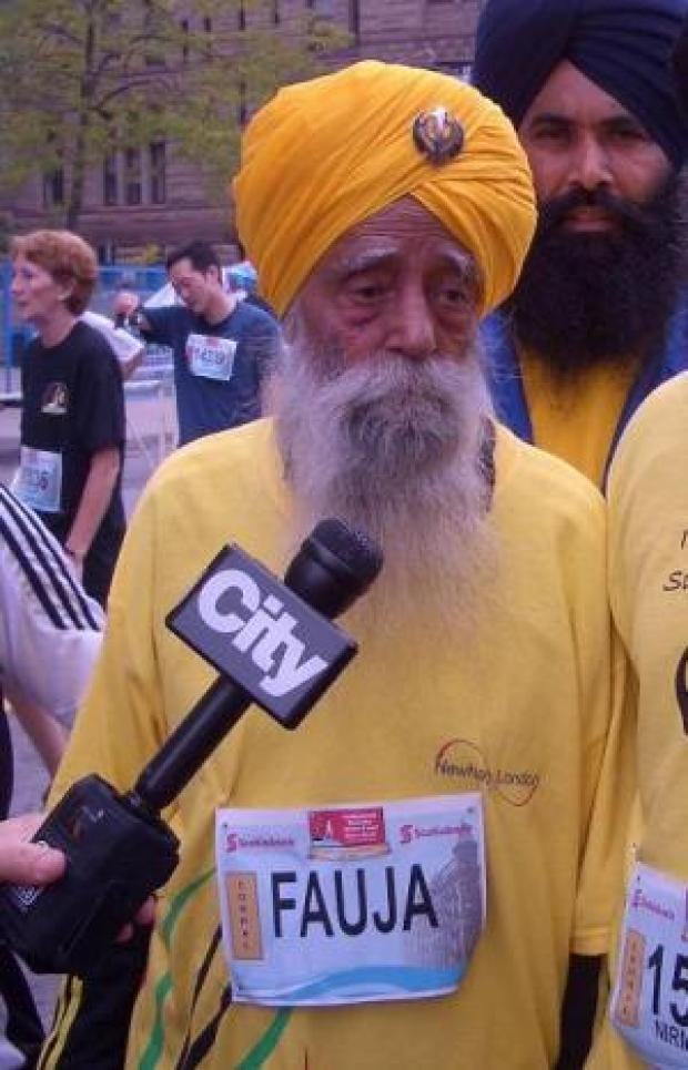 Fauja Singh, 100, after completing the Toronto Marathon in 2009