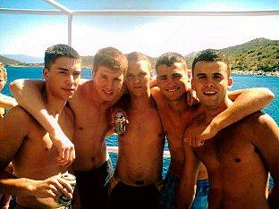 This Is Local London: Joseph Bruckland (second from right) is one of six men accused of a brutal attack on semi-professional footballer Robbie Hughes while on holiday in Malia in June 2008.