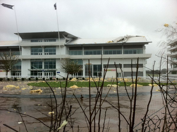 Wind rips roof off Epsom Racecourse