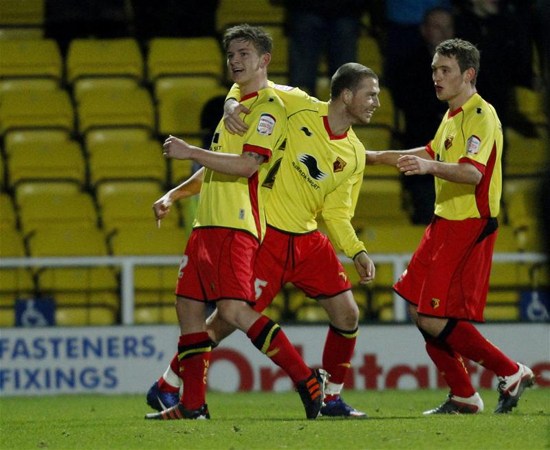 Sean Murray celebrates his goal against Leicester City. Picture: Action Images