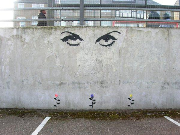 The artwork appeared on the wall of the car park near B&Q this week.