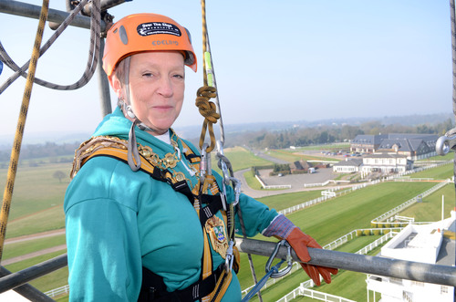 Coun Sheila Carlson, Mayor of Epsom and Ewell, before her abseil