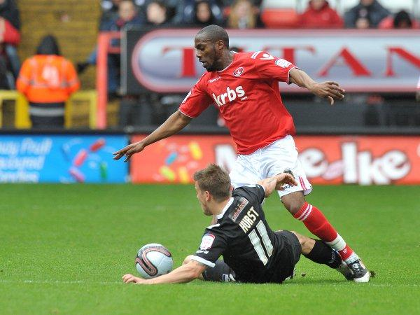 Dany N'Guessan in action for Charlton against Walsall