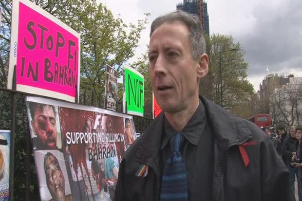 This Is Local London: Around 20 people staged a demonstration against the Bahrain grand prix outside the Formula One office in Knightsbridge, central London. Human rights activist Peter Tatchell attended the protest which was organised  by campaign group Justice for Bahrain.