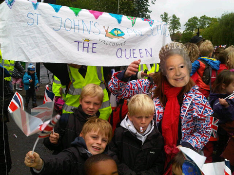This Is Local London: Jo Youll (in queen mask) with sons Alfie 9, frankie 7, stanley 6.