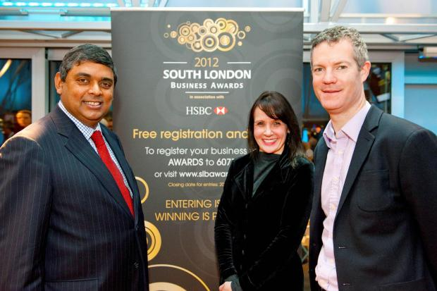 (L-R) South London Business chief executive Peter Pledger, Carol Bagnald , HSBC, and last year's Business of the Year Award winner Neil Young