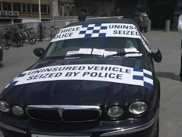 Last month, Merton police displayed an uninsured Jaguar outside Wimbledon station