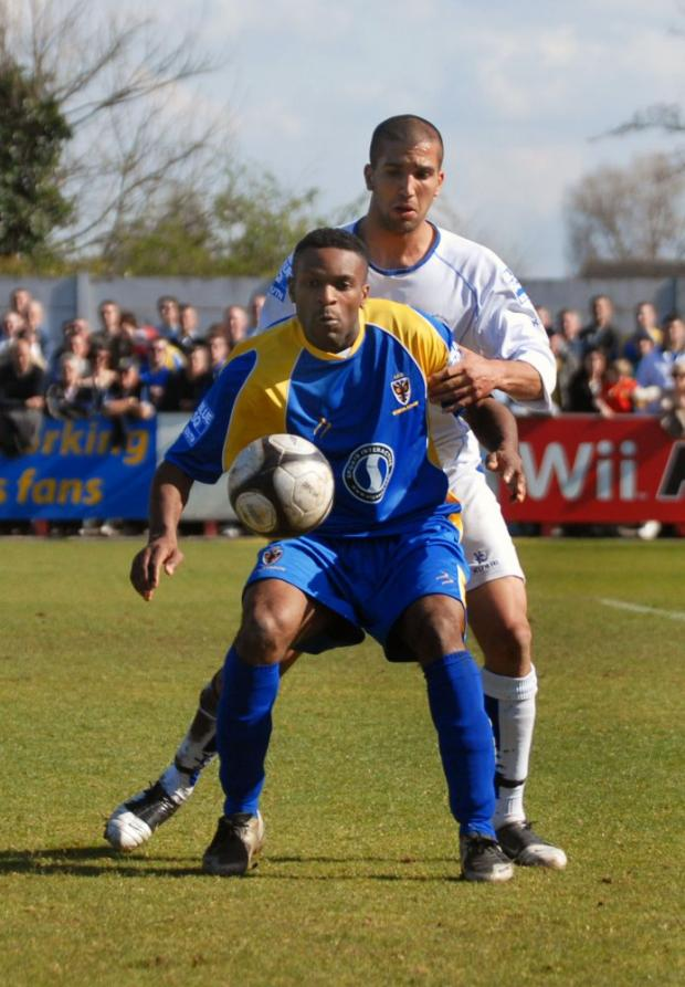New face: Kezie Ibe in action for AFc Wimbledon during his brief spell at Kingsmeadow