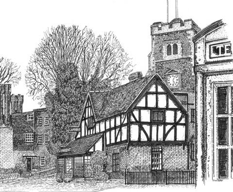 Pinner Church and the Orient restaurant