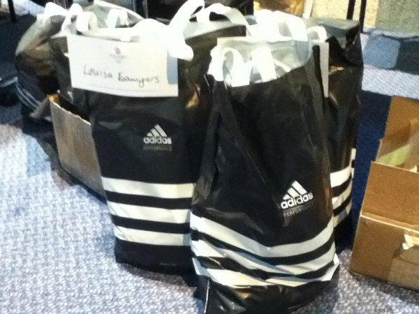 Kit bag: The Team GB sprint canoe squad's Olympic kit, one bag bearing Louisa Sawers' name, was spotted at the Institute of Education two days before the team announcement at Lake Dorney in Windsor 	Pic: Stuart Amos