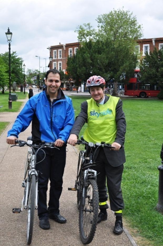 Pedal power: Julian Bell, right, and colleague Bassam Mahfouz