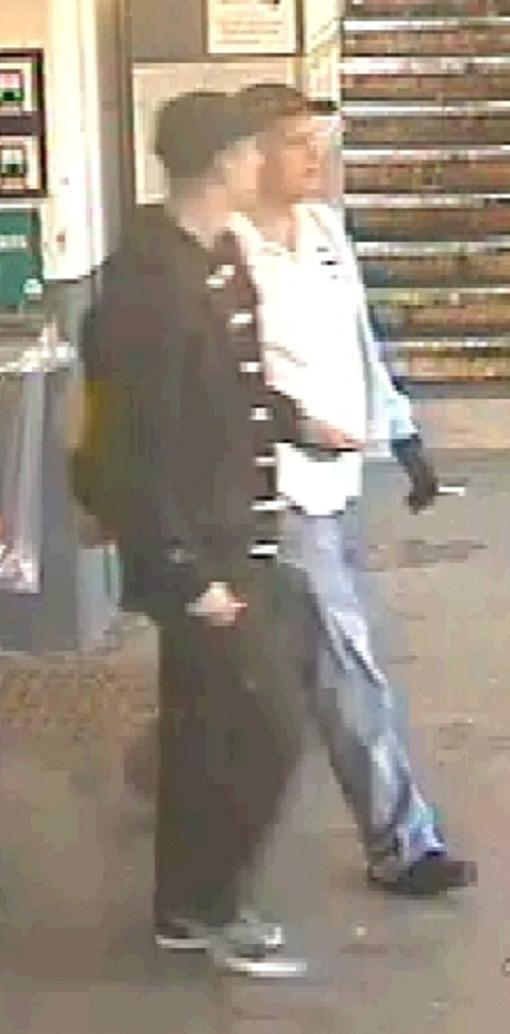 Police want help tracing these two men caught on CCTV at the station.