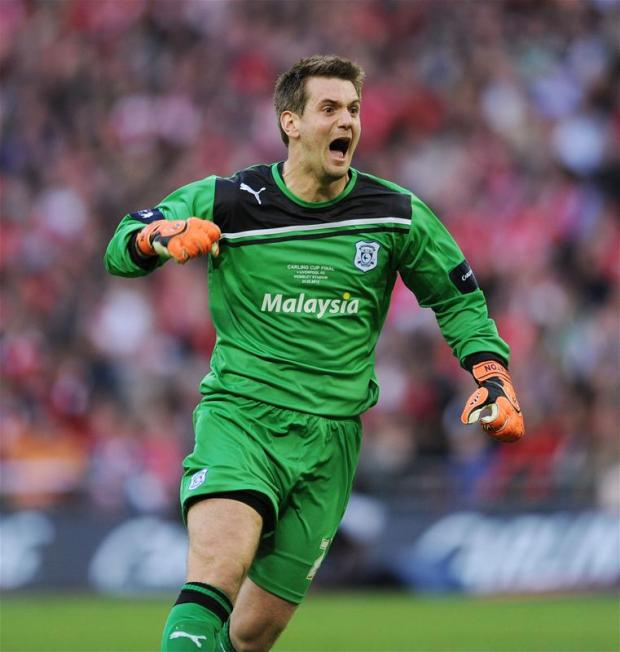 Tom Heaton celebrates during this year's Carling Cup final. Picture: Action Images