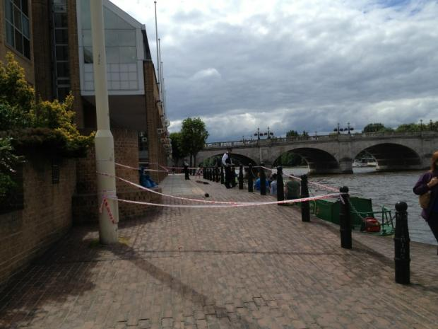 Police tape off riverside after 'woman assaulted'