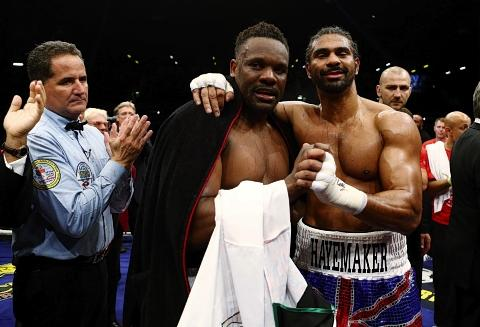 David Haye and Dereck Chisora were all smiles after their 'grudge' match: Action Images