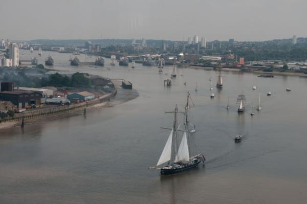 The flotilla passes through the Thames Barrier (pic by Port of London Authority)