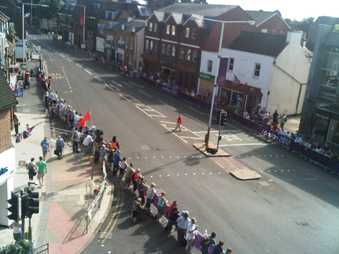 Aerial view of road race in Walton