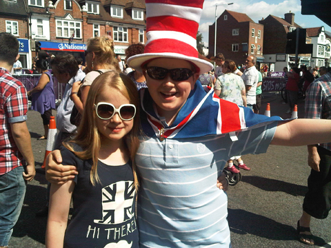 Ewan Wickham, 13, and sister Amy in Walton for the Olympics road race