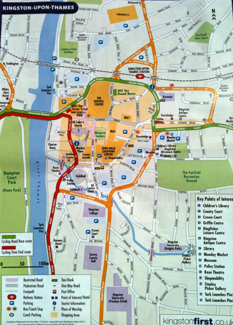 Map of the Kingston leg of the Olympic cycle route should head to outside John Lewis where members of the Kingstonfirst team are handing them out for free.