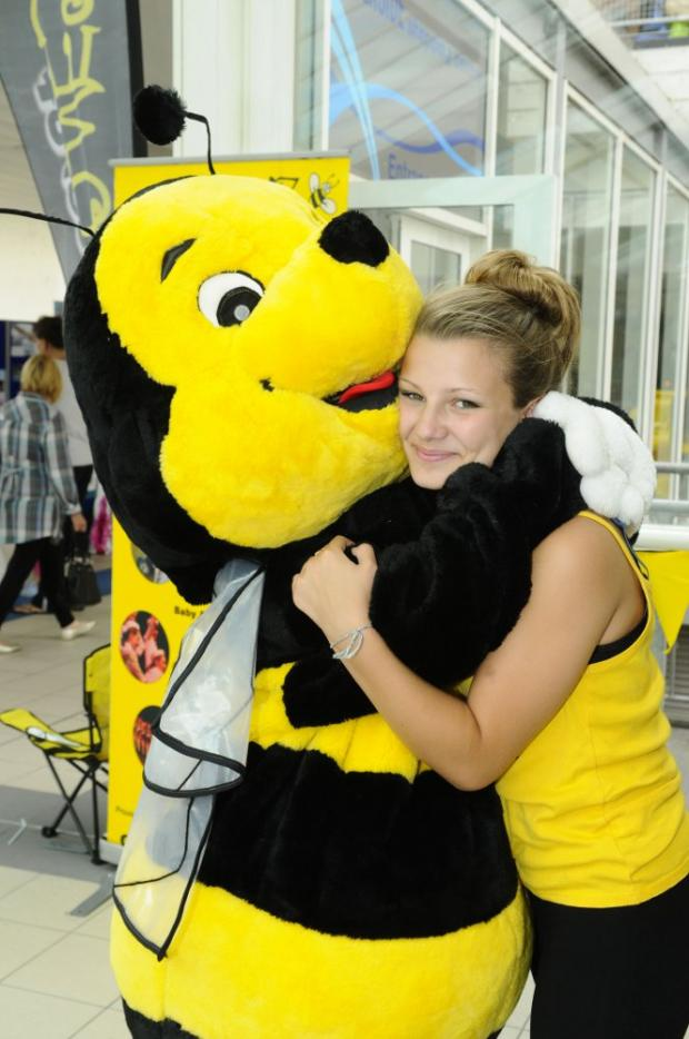 Connie Gibson, aged 14, with Buzz the bee from Honeyz school of dance