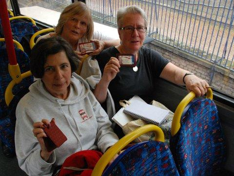 Riding the London buses from end to end: L-R Linda Smither, Mary Rees and Jo Hunt; courtesy of Zara Bishop