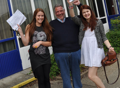 Faith Brackstone, Trinity headteacher Ian Collins and Sophie O'Reilly
