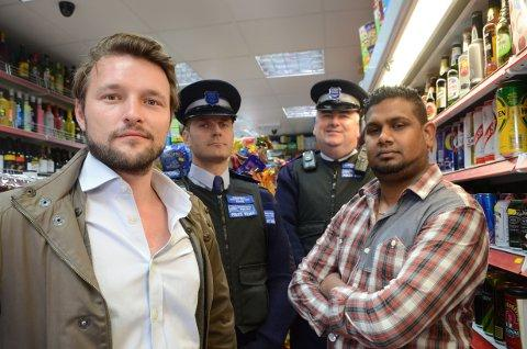 Councillor Jack Hopkins, police officers Blazej Slowik, Jed Scarry and shopkeeper Mohammed Ismail.