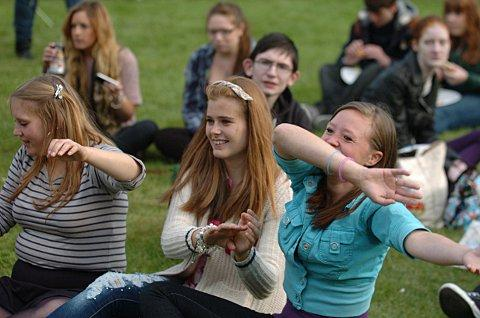 Young carers enjoy the music at the festival