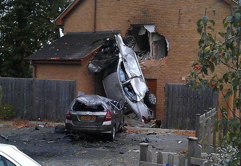 Flying car crashes through first-floor bedroom