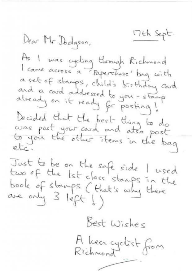 Kind act: The cyclist's note