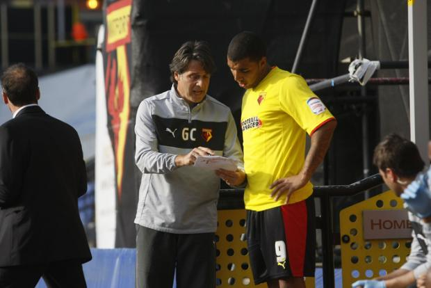 Troy Deeney recieves instructions before returning to action with the Hornets. Picture: Holly Cant