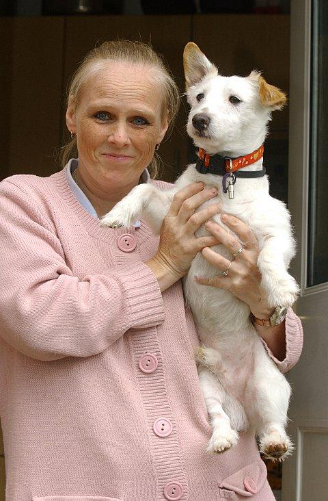 Claire Minter and her dog 'Jock' wage war on the mice