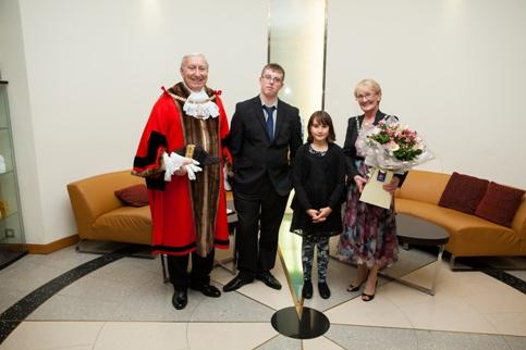 Reece and Cayleigh greet Mayor of Bexley, Cllr Alan Downing and Mayoress Cllr Ross Downing