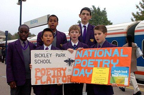 Bickley Park Prep School pupils pictured in 2005 performing poetry on a platform at Bickley Station