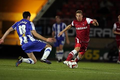 Scott Wagstaff attacks during the O's win over Hartlepool United: Simon O'Connor