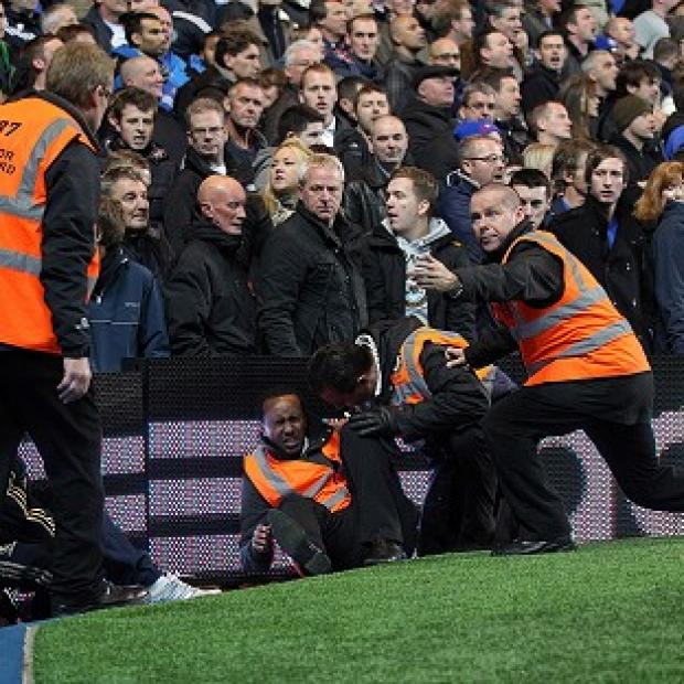 A steward was injured during the Chelsea vs Manchester United match at Stamford Bridge in London