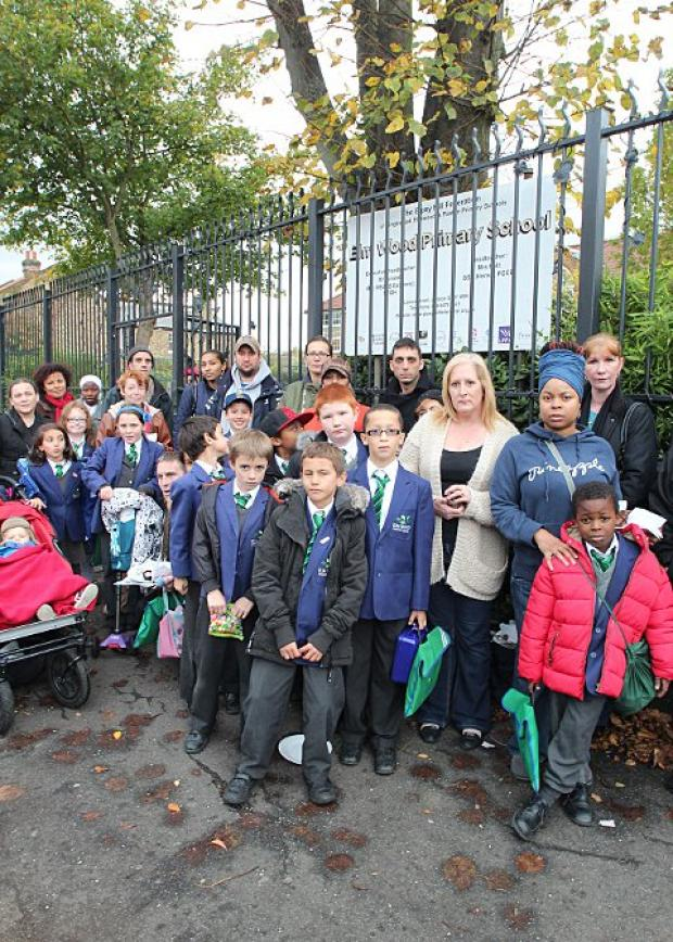 Parents outside Elm Wood Primary School