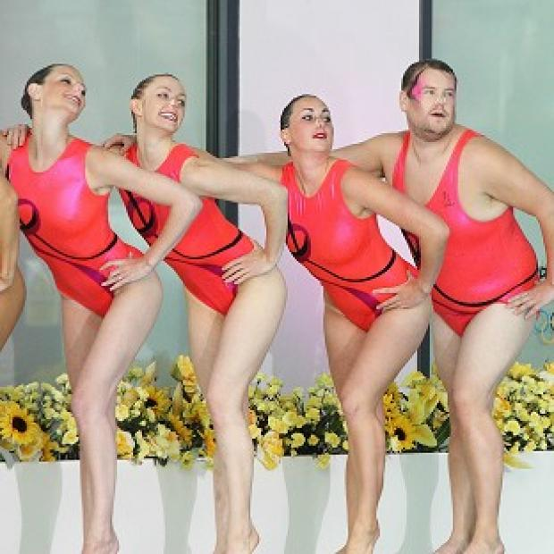 James Corden tries his hand at synchronised swimming for A League of Their Own