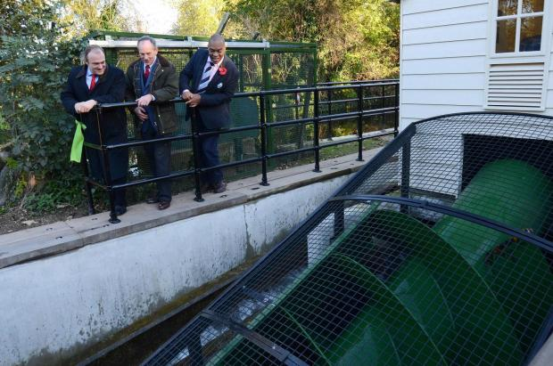 Ed Davey, secretary of state for energy and climate change, unveiled Morden Hall Park's new Archimedes screw in November 2012